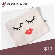 "Canvas zip pouch-face picture Great sturdy bag can be used for makeup, brushes, travel items, etc. size is 6.5""x8"". Brand new Bags Cosmetic Bags & Cases"