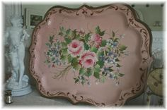 A huge pink tole tray...just like my Grandmother's that started my collection
