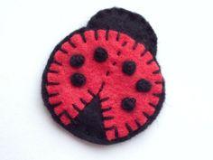 Ladybird Ladybug Felt Brooch / Keychain / Keyring / Bag Charm. Hand Stitched / Handmade / Made to order via Etsy