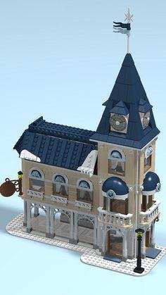"Winter Village Hotel ""Relais della Neve"" | by SpaceBrick Lego Winter Village, Lego Village, Village Hotel, Lego Poster, Lego Gingerbread House, Lego Kingdoms, Casa Lego, Lego Disney, Big Lego"