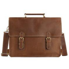 Vintage Brown Leather Briefcase, Men Messenger Bag, Laptop Bag 7035B-1