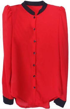 Red Contrast Collar Long Sleeve Slim Chiffon Shirt