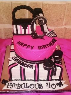 Fabuloys 40 Birthday Cake with rhinestones, fondant shoe & edible purse