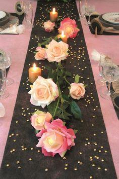 Chemin de table mariage non tissé gris en promo