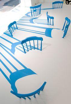 2D/3D chairs for Issey Miyake by Yoichi Yamamoto Architects, Tokyo visual merchandising store design