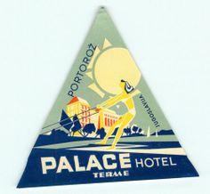 Portoroz Jugoslavia Yugoslavia Palace Hotel Terme Vintage Deco Luggage Label | eBay