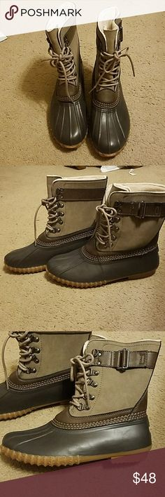 Esprit duck boots Women's duck boots. Tan and grey. Only worn a couple of times. Esprit Shoes