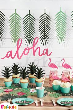 Throw a Hawaii party! We have the right Hawaii party decoration . Throw a Hawaii party! We already have the right Hawaii party decoration for you – you don& - Aloha Party, Hawaii Birthday Party, Hawaiian Birthday, Luau Party, Birthday Party Themes, Kids Party Themes, Flamingo Party, Flamingo Birthday, Moana Party