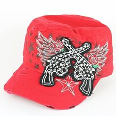 """WESTERN STYLE """"PISTOL"""" CADET CAP RED, $24.99 (http://www.cowgirlblingranch.com/products/new-fashion-trendy-western-style-pistol-cadet-cap-red.html)"""