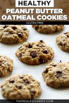 Oatmeal Chocolate Chip Cookie Recipe, Healthy Oatmeal Cookies, Oatmeal Cookie Recipes, Chocolate Chips, Oatmeal Cookies No Flour, Sugar Free Peanut Butter Cookies, Gluten Free Cookies, Peanut Recipes, Paleo Recipes