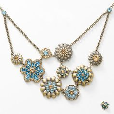 """Our Jewelry is only available through a Consultant - want to purchase - (Hostess Name is Alison Manaher)  Antique English Garden Necklace - Light Colorado Topaz and Aquamarine crystal; oxidized brass plating; 16"""" to 19"""".  Ladybug tac pin features Crystal and Sunflower crystal."""