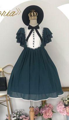 Unideer -Memory of Floria- Vintage Classic Lolita OP Dress (Chiffon Fabric Version),Lolita Dresses, Harajuku Fashion, Kawaii Fashion, Lolita Fashion, Cute Fashion, Fashion Outfits, Estilo Lolita, Plus Size Prom Dresses, Cute Dresses, Cute Outfits