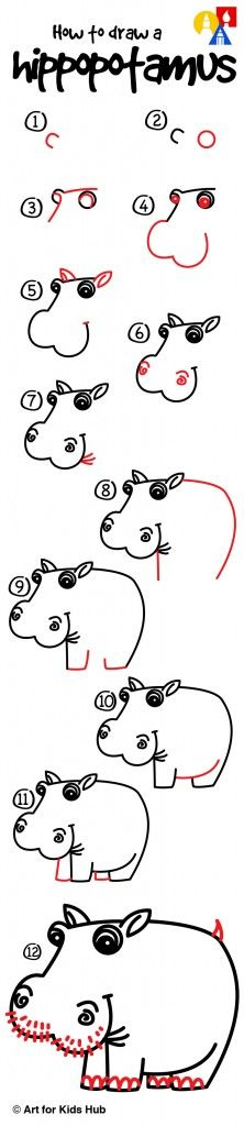 How to draw a silly hippo!