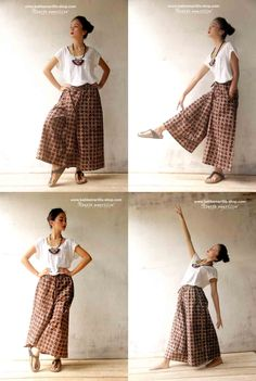 Lovely design plus very comfortable that you will want to live in them! These pants have an elastic waist all around with wide shaped legs with layered asymmetric piece at the front. Batik Kebaya, Batik Dress, Filipiniana Dress, Amarillis, Batik Fashion, Sarongs, Love Fashion, Womens Fashion, Pants For Women