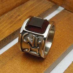 Tebal Gothic cincin band, Ruby persegi Mens Acessories batu akik Titanium Stainless Steel Tibet surat beruntung cincin laki laki, Pesta pria Bijoux di Cincin dari Perhiasan AliExpress.com | Alibaba Group