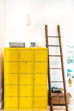 Inside The Hivery: A Women-Only Coworking Space Coworking Space, Yellow Storage Cabinets, Cupboards, Yellow Office, Design Textile, Yellow Interior, Interior Decorating, Interior Design, Mellow Yellow