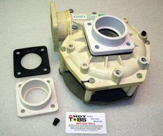 Complete with grey flange and two 4-bolt unions and gaskets. This is a non-rebuildable pump, sold as a complete unit. There are tens of thousands of these out there, made for a few decades. There is only one that looks like this. If you have a seal leak then you need to replace entire pump.