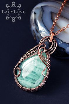 Wire wrapped copper pendant with natural Aquamarine stone ...S U B S C R I B E... Get latest discounts and news straight to your inbox! - http://lacylove.com.ua/subscribe