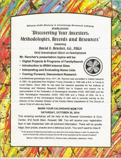 New Mexico Genealogical Society Blog: FamilySearch genealogist presenting program in Roswell, New Mexico - October 25, 2014.