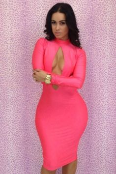 Pink Oval Hollow-out Front Sexy Bodycon Dress