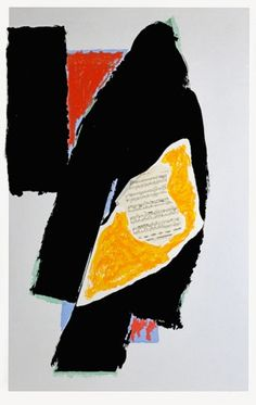 """Robert Motherwell - Black for Mozart 63 7/8"""" x 40 3/4"""" Lithograph printed in colors with collage. 1991"""