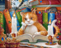 The Literate Cat Jigsaw Puzzle | New Jigsaw Puzzles | Vermont Christmas Co. VT Holiday Gift Shop