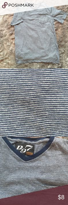 Men's striped T. Size L D97 Freedom Inspired T-shirt.  Blue and white stripes with contrasting solid blue collar and small chest pocket.                                           Worn once.  Size L Shirts Tees - Short Sleeve