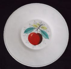 """Westmoreland Beaded Edge Zodiac Torte Plate Platter - Vintage 1950s - Red Apple - Measures 14-5/8"""" in diameter!"""