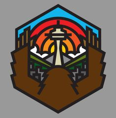 This is a logo Aaron did for the Sub Pop records company. It depicts a Sasquatch looking over a Seattle sunset. Very simple hexagonal shape with some flare added for detail. The basic soft colors, bold lines, and symmetry are all very appealing in this logo.