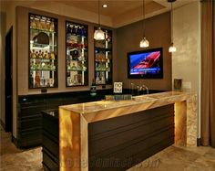 Miel Onyx Bar Top from United States, the Details Include Pictures,Sizes,Color,Material and Origin. Rustic Basement Bar, Basement Bar Designs, Home Bar Rooms, Home Bar Areas, Bar Interior, Interior Design, Bar Unit, Living Room Bar, Glass Bar