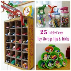 25 Totally Clever Toy Storage Tips and Tricks | Babble--- dang that big piece that was in your garage would have been great in you basement now! sigh--but we will get it figured out....love ya