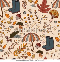 Seamless Rubber Boots and Umbrella Pattern / Vector illustration of mushrooms, acorns, oak leaves, cranberries and other autumn harvest. Illustration for the autumn mood. - stock vector