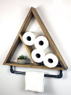 Triangle Bathroom Shelf with Pipe Towel Bar, Industrial Farmhouse,Geometric Country Rustic Storage, Modern Farmhouse, Apartment Dorm Decor - DIY Bathroom