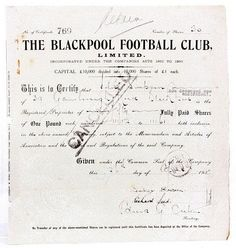 England, The Blackpool Football Club, Limited, 50 Shares of £1 each, 1937