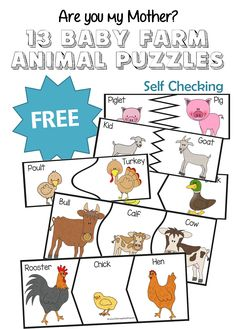 Are you my mother - FREE 13 baby farm animals puzzles for toddler, preschool, kindergarten to learn about farm animals and their names.