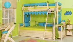 Kidsroom, Bunk Beds, Indoor, Storage, Furniture, Home Decor, Design Ideas, Turquoise, Green