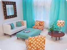 LuxLivingSuite, Mad Men Barbie furniture. Check out the mirror mirror blog for details