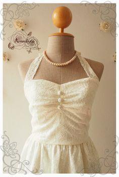 White Cream Lace Dress Romantic Lace Dress Vintage by Amordress