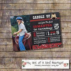 Saddle up invitation chalkboard horses pony by myooakboutique