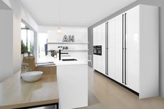 The contrasting handles and appliances give the wow factor to a truly stunning contemporary kitchen design. Decor, Contemporary Kitchen Design, Contemporary Kitchen, Room Divider, Furniture, Kitchen, Home Decor, German Design, Contemporary Design