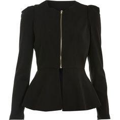 Miss Selfridge Black Plain Peplum Jacket (320 SEK) ❤ liked on Polyvore featuring outerwear, jackets, coats, blazers, tops, black, peplum blazer, blazer jacket, peplum jacket and miss selfridge