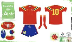 Colombia away kit for the 1990 World Cup Finals.