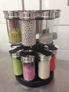 Cake decorations storer made from Kmart spice rack