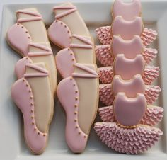 Ballet / ballerina slippers and tutu cookies. Www.thesweetesttiers.com