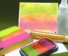 Pigment ink+water+smooch spritz = watercoloured background