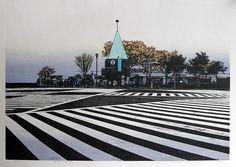 Hodaka Yoshida (Japan, Sukiyabashi Kosaten (Sukiyabashi Crossing, Tokyo), woodblock and anastatic print, Japanese Modern, Japanese Prints, Japanese Style, Pedestrian Crossing, Japanese Photography, Flag Icon, Police Box, Family Print, Japan Art