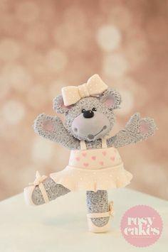 Ballerina bear cake topper.. Rosy Cakes