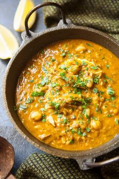 Harira - Moroccan Lamb and Legume Soup - is loaded with healthy chickpeas, lentils, and vegetables, scented with the exotic flavors of Morocco. Moroccan Lentil Soup, Lentil Stew, Easy Dinner Recipes, Soup Recipes, Cooking Recipes, Dinner Ideas, Gumbo Recipes, Tagine Recipes