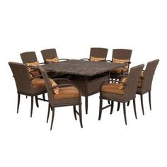 Hampton Bay Salem 7 Piece High Dining Patio Set 2 12 921 DST7 At The Home  Depot | 42 Grove | Pinterest | Patios, Cement And Porch