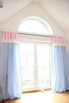 Gardinen & Vorhänge - 2 Vorhänge, Karo blau/Punkte rosa 145 x 250 cm - ein Designerstück von MaruMaru bei DaWanda